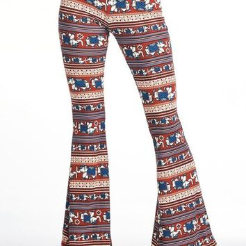 Elephant Printed Flare Pants