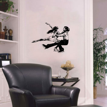 Vinyl Decal Sport Figure Skating Skaters Man And Woman Dancing On Ice Home Wall Decor Stylish Sticker Mural Unique Design for Any Room V775
