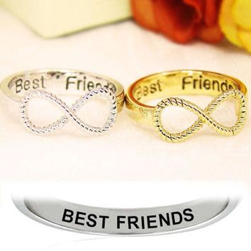 USA BFF Letter Best Friend Siver&Gold Punk Infinity 8 Bowknot Friendship Rings