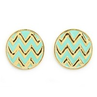 ROUND CHEVRON STUD EARRINGS