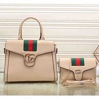 Gucci Women Leather Shopping Tote Handbag Messenger Bag Satchel Crossbody Set Two-Piece