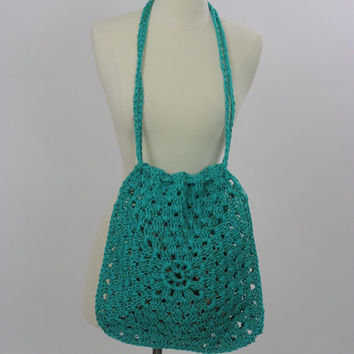 Vintage Rope crochet handbag tote Boho tote bag  Beach bag Festival bag handbag Aqua rope crochet bag Hippie bag purse Shoulder bag