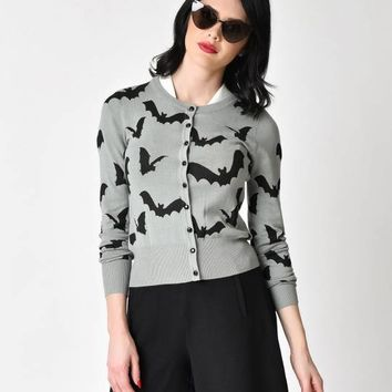 Retro Style Grey & Black Flying Bats Long Sleeve Knit Cardigan