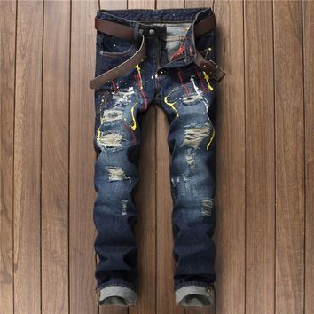 Men Style Stylish Pants Blue Jeans [10766088195]
