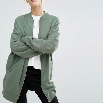 Monki | Monki Longline Jersey Bomber Jacket at ASOS