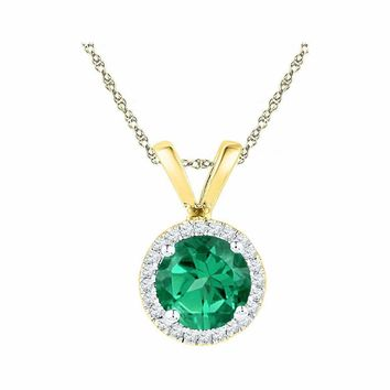 10k Gold Women's Lab-Created Emerald Solitaire & Diamond Halo Pendant - FREE Shipping (US/CA)