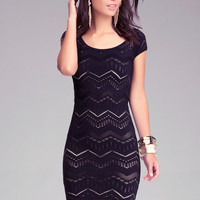 Multi Chevron Stitch Bodycon Dress