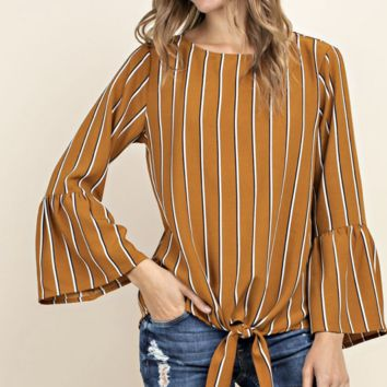 Gold Mustard Tie Front 3/4 Bell Sleeve Woven Top Blouse