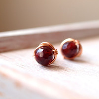 July Birthstone, Red ruby round faceted stud earrings, rose goldfilled wirewrapped post earrings