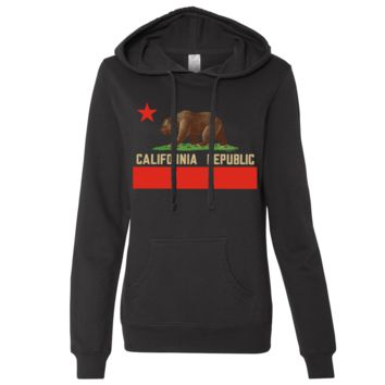 Don Pimentel California Republic Bear Flag Ladies Lightweight Fitted Hoodie