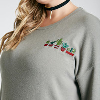 Plus Size Cactus Embroidered Graphic Soft Pullover   Wet Seal Plus