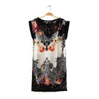 Vintage Palace Lace Hollow Out Print Mosaic Short Sleeve Skirt One Piece Dress [4917881092]