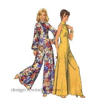 1970s DISCO JUMPSUIT PATTERN PantDress Sexy Halter Jumpsuit Palazzo Jumpsuit Bust 36 Size 14 Simplicity 5570 Womens Sewing Patterns