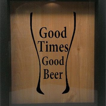 "Wooden Shadow Box Wine Cork/Bottle Cap Holder 9""x11"" - Good Times Good Beer in Glass"