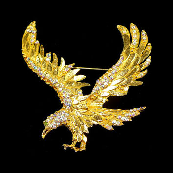 AB Rhinestone Eagle Brooch, Large Gold Eagle, Golden Bird, Flying Eagle, Rockabilly Runway Statement, Graduation Gift for Her