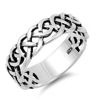 925 Sterling Silver Wiccan Weave Ring 7MM