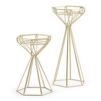 Tall Gold Geometric Candle Holder Set (Pack of 1)
