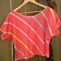 Funky Stripe Blouse/ Half Shirt/ Vintage Crop by FuriousDesigns
