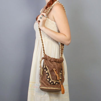 80s LEATHER Bucket BAG / Native Deerskin PURSE with Medicine Pouch