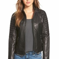 Women's DKNY Lambskin Leather Zip Front Jacket,