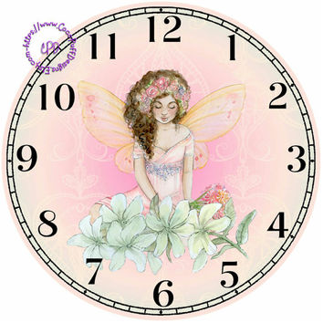 """Fantasy Fairy with White Flowers Art - -DIY Digital Collage - 12.5"""" DIA for 12"""" Clock Face Art - Crafts Projects"""