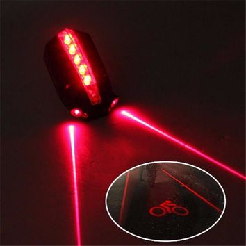 2 Laser+5 LED Rear Bike Bicycle Tail Light Beam Safety Warning Red Lamp Safety & Survival Z0718