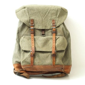 SWISS ARMY BACKPACK from 1965, Vintage Military Leather and Canvas Bag, 'Salt & Pepper' Fabric, Large Rugged Men's Rucksack from Switzerland