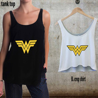 Wonder Women Logo For Woman Tank Top , Man Tank Top / Crop Shirt, Sexy Shirt,Cropped Shirt,Crop Tshirt Women,Crop Shirt Women S, M, L, XL, 2XL**