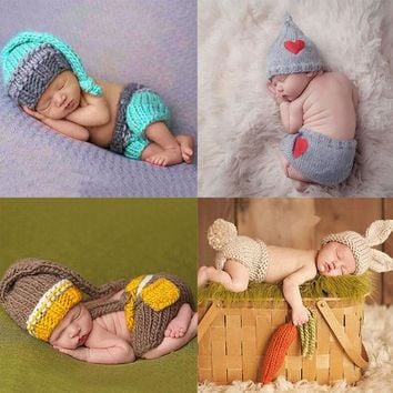 DCCKL3Z Newborn Baby Cute Crochet Knit Costume Prop Outfits Photo Photography Baby Hat Photo Props New born baby girls Cute Outfits
