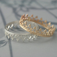 Queen of Hearts Band Crown Ring in SOLID 14K Yellow Gold--Perfect Gift for your Sweetheart--Custom made to size