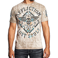 Affliction Clothing Cross-Tape Alloy Rust T-Shirt - Tobacco Seam Wash