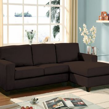 Acme 05907 2 pc Vogue chocolate microfiber reversible chaise sectional sofa