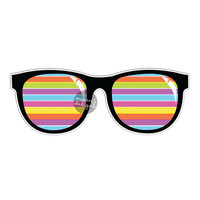 Stripe Sunglasses Sticker - Colorful Summer Car Decal Bumper Sticker Laptop Decal Sunnies Beach Art Wall Decal Cute Sunglasses Color Stripes