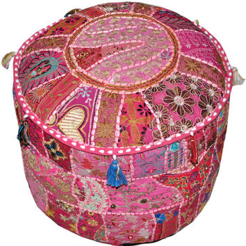 Bohemian Embroidered Pouf Ottoman in Pink Footstool Cover indian round ottoman stool pouf pillow Patterned Cocktail Vintage Hassock Pouffe