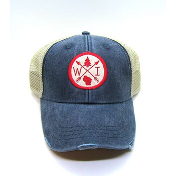 Wisconsin Hat - Navy Blue Distressed Snapback Trucker Hat - Wisconsin Patched Arrow Compass