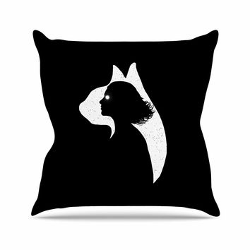 "Barmalisirtb ""Cat Girl"" Black White Digital Outdoor Throw Pillow"