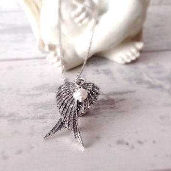 Angel wing necklace, sterling silver wing necklace, memorial necklace, remembrance necklace, inspirational gifts, gift for bride,