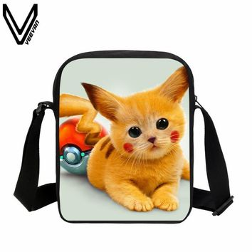 VEEVANV 2017 Anime  Mini Messenger Bag Pikachu Gengar Charizard Valor Pokeball Shoulder Bags Children School Bag Cute CatKawaii Pokemon go  AT_89_9