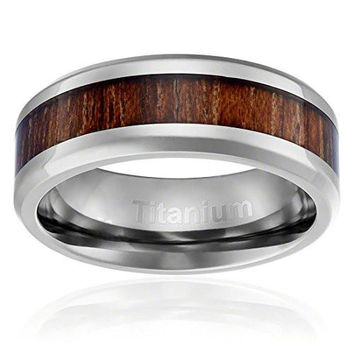 8MM Titanium Ring Wedding Band Hawaiian Koa Wood Inlay Beveled Edges | FREE ENGRAVING