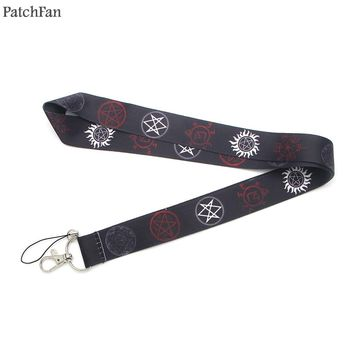 Patchfan Supernatural SPN Rune Silicone movie neck lanyards for keys glasses holder bead keychain phones camera webbing A0841