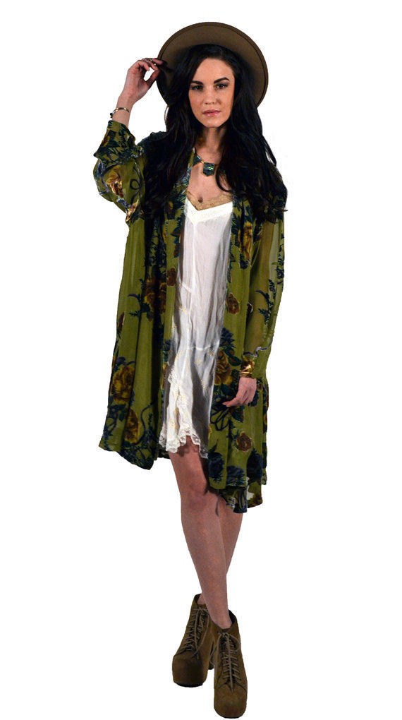 Olive Green Floral Velvet Burnout Gypsy From Saltwatergypsy On