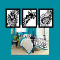 Paisley Wall Art CANVAS Peacock Feather Black White Floral Design  Set of 3 Prints Decor Bedroom Bathroom Three