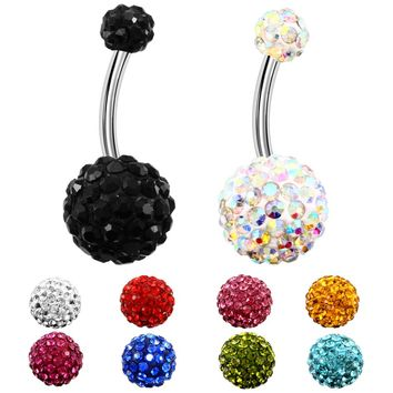 1PC 316l Surgical Steel Assorted Colors With Double Epoxy Crystal Balls Belly Button Ring Navel Piercing Body Jewelry 14g