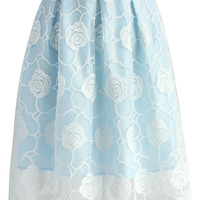 Rose Fairy Pleated Skirt in Sky Blue Blue
