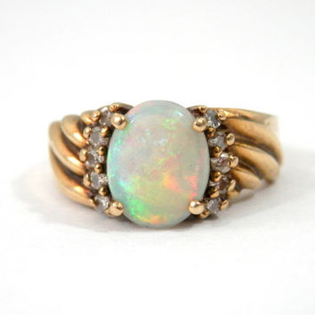 Vintage 14K Opal and Diamond Pinkie Ring