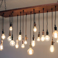 Reclaimed Barn Wood Chandelier with varying Edison bulbs