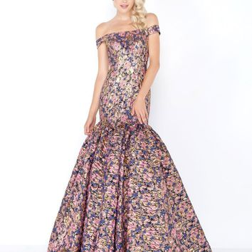 Mac Duggal - 66458M Off Shoulder Gilded Floral Trumpet Gown
