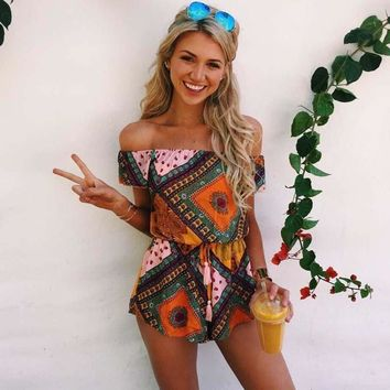 Boho Plaid Print Rompers Ladies Off The Shoulder Jumpsuit Short for Women Playsuits African Beach Bodysuit Overalls