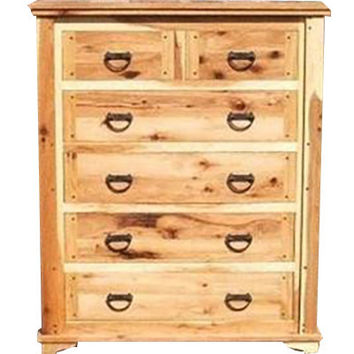 Rustic Hickory Six Drawer Dresser ~ Hickory Creek Collection