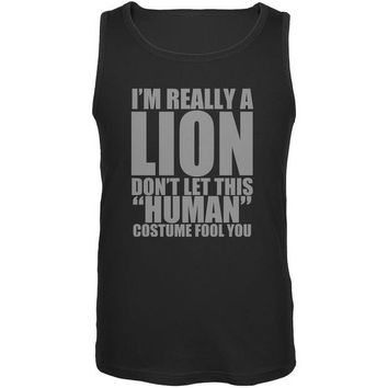 ONETOW Halloween Human Lion Costume Black Adult Tank Top